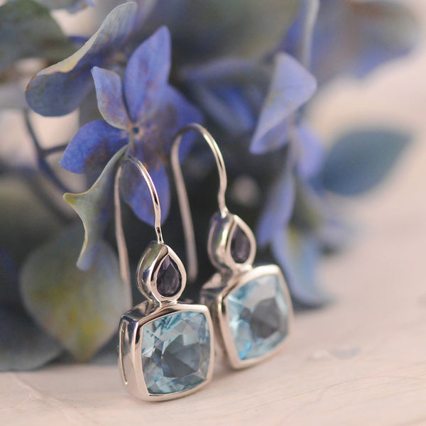 Topaz and Iolite Sterling Silver Drop Earrings