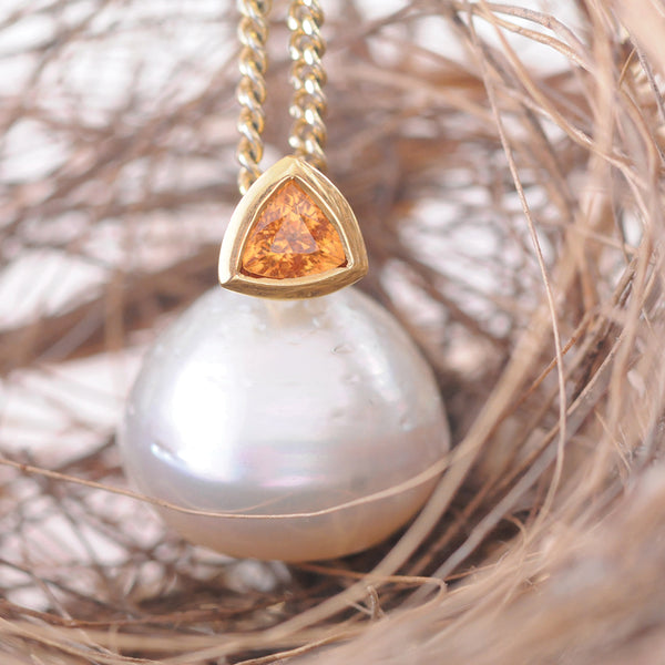 Yellow Gold South Sea Pearl and Spessartite Garnet Pendant