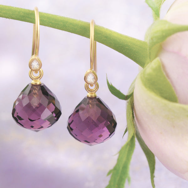 Yellow Gold Plated Amethyst Crystal Earrings