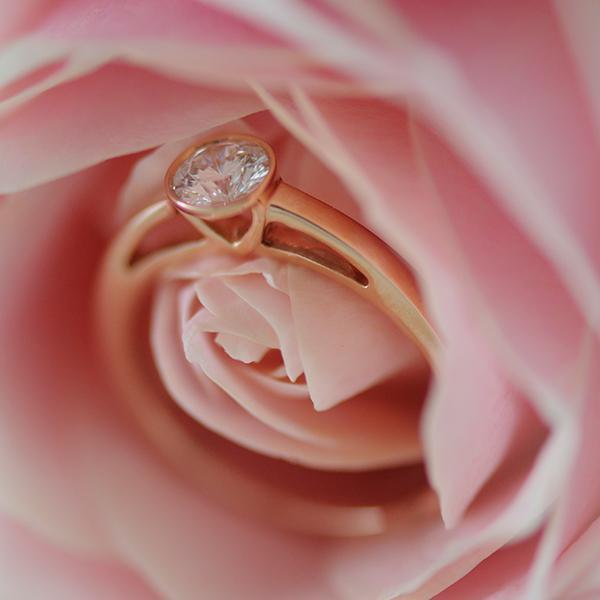 Aurora Diamond Engagment Ring Bezel Set in 18k Rose Gold