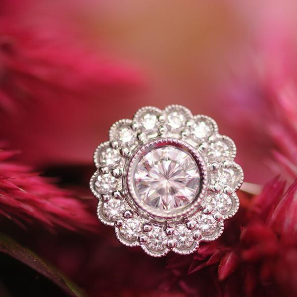 Aurora Diamond Daisy Ring set in 18k White & Yellow Gold