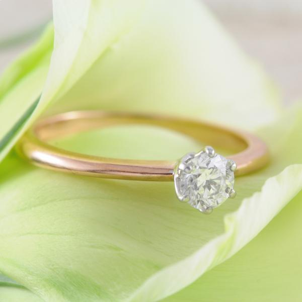 9k Rose & White Gold Solitaire Round Brilliant Cut Diamond Ring