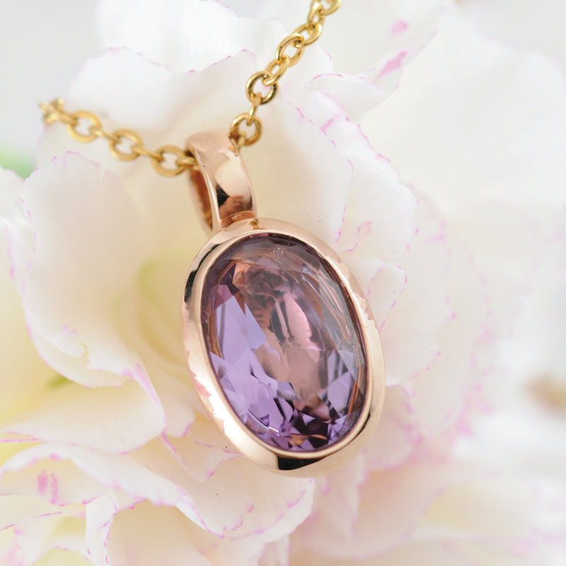 Amethyst Large Oval Faceted Pendant - Rose Gold Plated Sterling Silver.