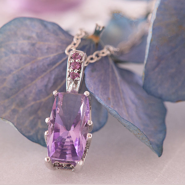 Sterling Silver Rhodium Plated Pendant with Amethyst