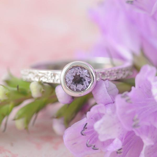 Amethyst Stacking Ring with Dot Textured band in Sterling Silver