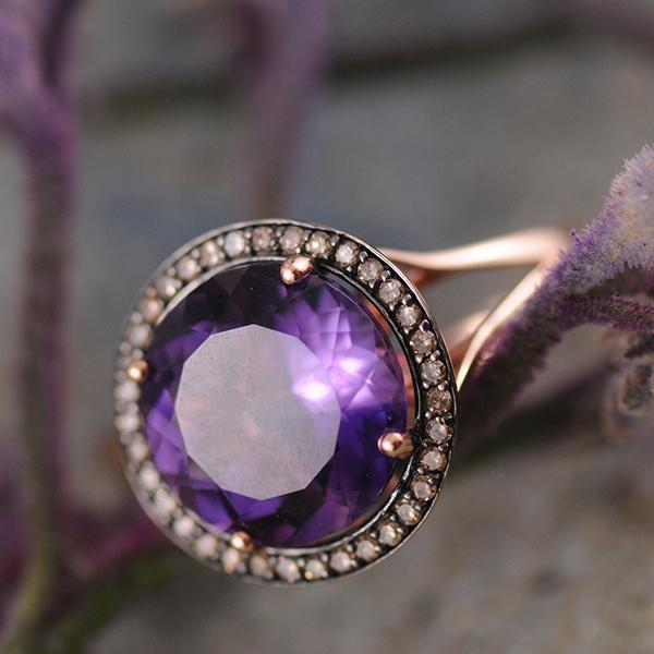 Amethyst and Champagne Diamond Ring in 14K Rose Gold