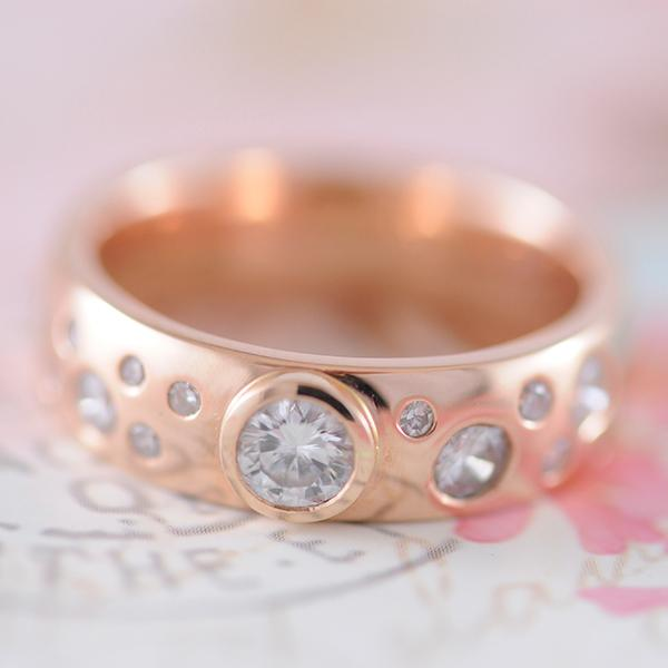 Scattered Diamond Ring in Rose Gold