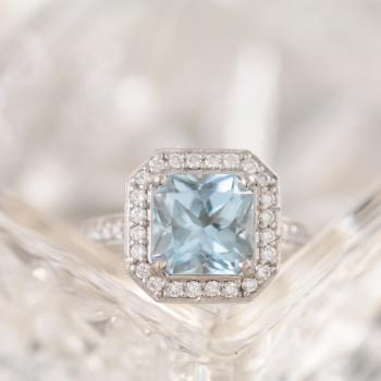 Aquamarine and Diamond 18k White Gold Halo Ring