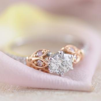 Argyle Pink and White Aurora Diamond Tulip Ring Set in 18k White and Rose Gold
