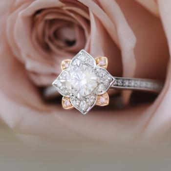 Argyle Pink and White Aurora Diamond Art Deco Ring Set in 18k White and Rose Gold