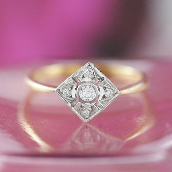 Art Deco Diamond Ring in 9ct Yellow and White Gold