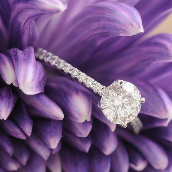 Aurora Diamond Engagement Ring in 18k White Gold