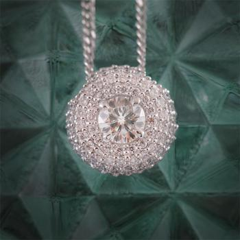 Aurora Diamond Halo Pendant set in 18k White Gold