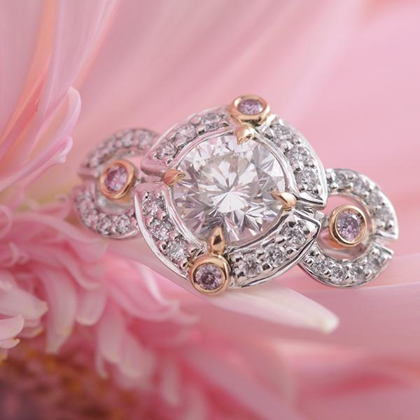 Aurora & Pink Diamond Ring set in 18k White & Rose Gold