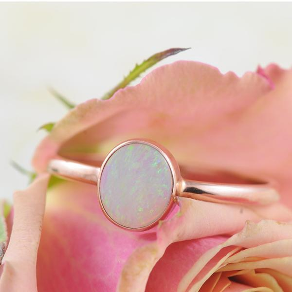 Australian Opal Solid  Oval Bezel Set Ring in 9k Rose Gold