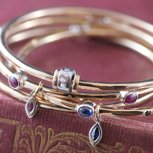 Bangles with Gemstone Charms