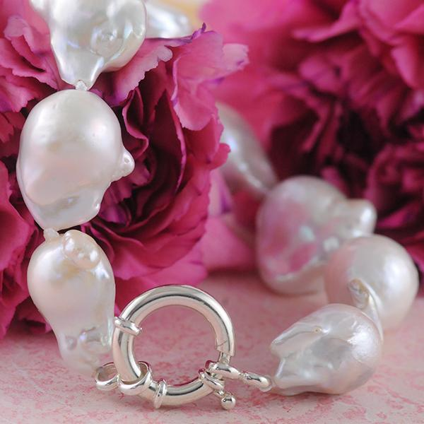 Baroque Pearl Bracelet Strand with Sterling Silver Clasp
