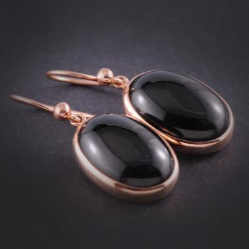 Black Onyx Cabouchon Rose Gold Earrings