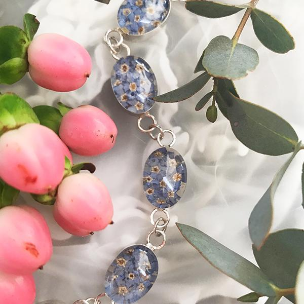 Blue Flower Sterling Silver Oval Bracelet with Enamel