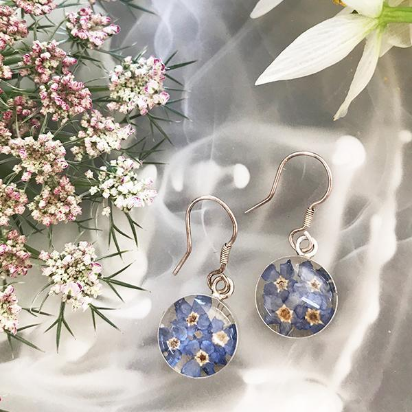Blue Flower Sterling Silver Round Earrings with Enamel