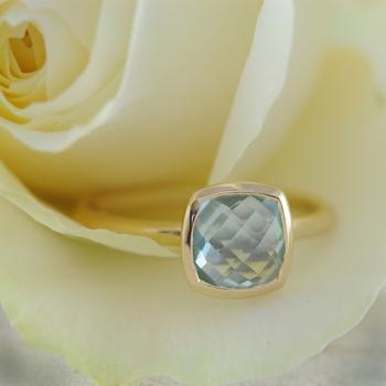 Blue Topaz Ring in 9ct Yellow Gold