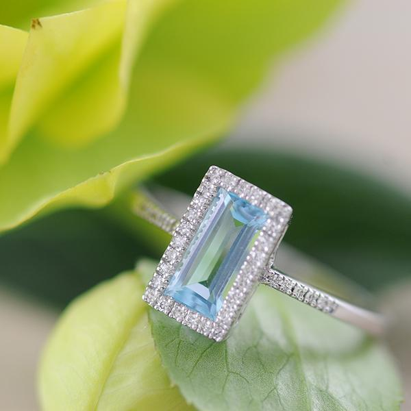 Blue Topaz and Diamond Ring Emerald Cut Halo in 9ct White Gold