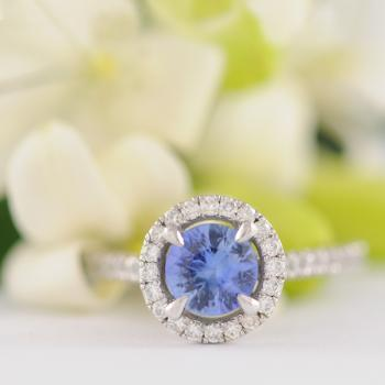 Ceylon Sapphire and Diamond Halo White Gold Ring