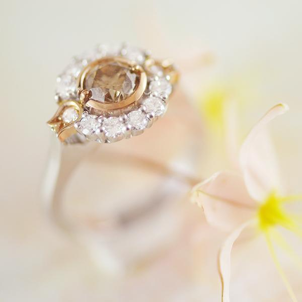 Champagne Diamond Ring in White and Yellow Gold
