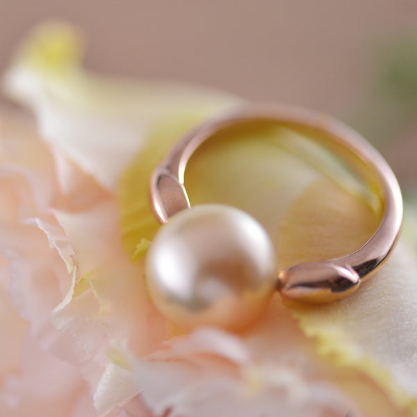 9k Rose Gold Ring with Golden South Sea Pearl