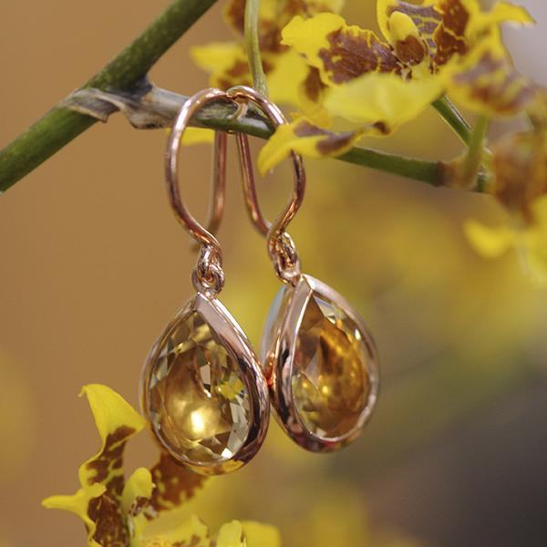 Champagne Quartz Drop Earrings Rose Gold Plated