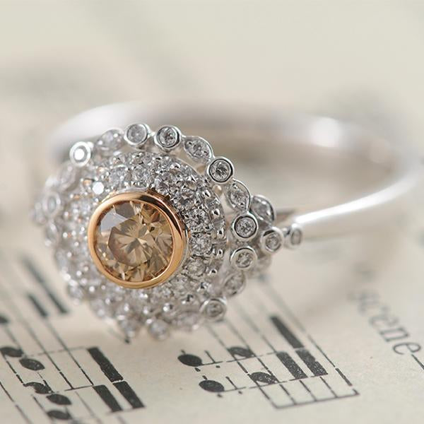 Australian Chocolate Diamond Ring with a Snowflake Design set in 9k White & Rose Gold