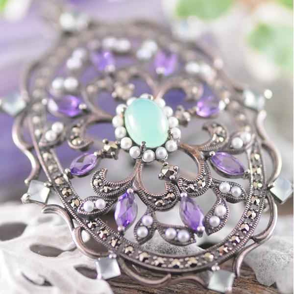 Amethyst Chalcedony Seed Pearl Pendant/Brooch
