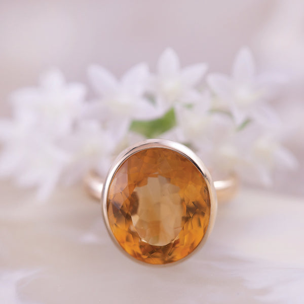 Citrine Bezel Set Yellow Gold Ring