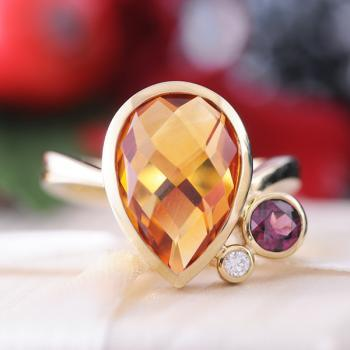 Citrine, Garnet & Diamond Ring set in 9k Yellow Gold