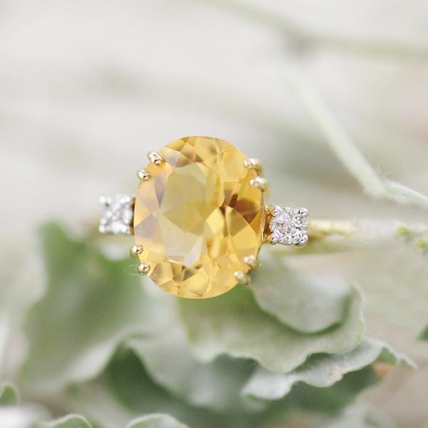 Citrine and Diamond Ring in 9k Yellow Gold