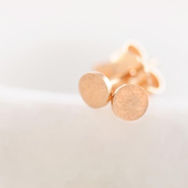 Coin' Sterling Silver Rose Gold Plated Stud Earrings