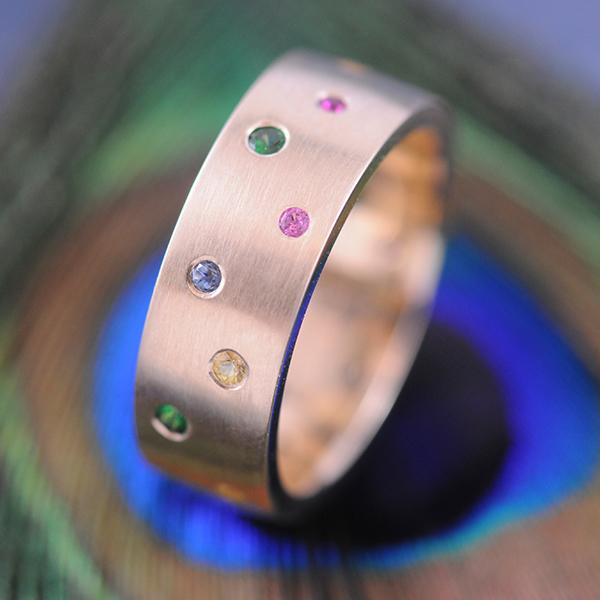 Coloured Stary Night Wide Band Ring