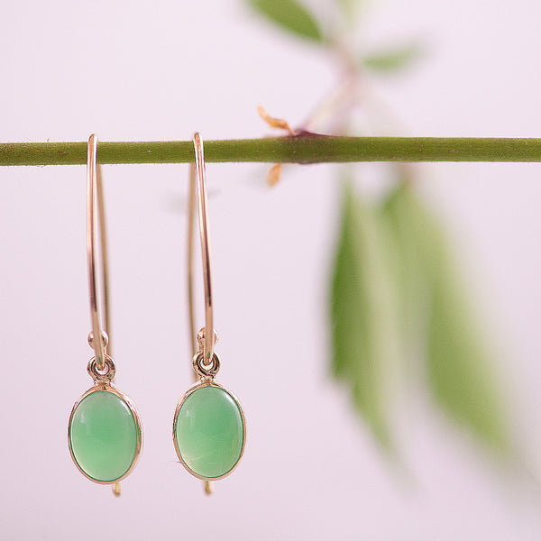 Yellow Gold Chrysoprase Drop Earrings