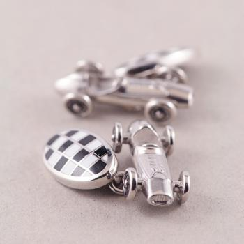 Cuff Links - Silver Car Racer with Black & White Enamel and Nicole Bar