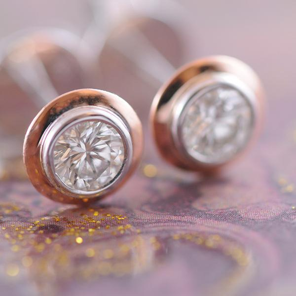 Diamond Double Bezel Set Studs in White and Rose Gold