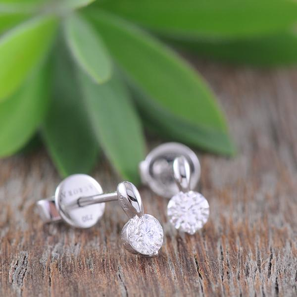 Diamond Drop Stud Earrings in 18k White Gold