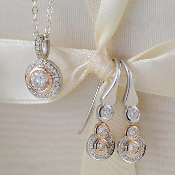 Diamond Halo Bezel Earrings and Pendant in White and Rose Gold