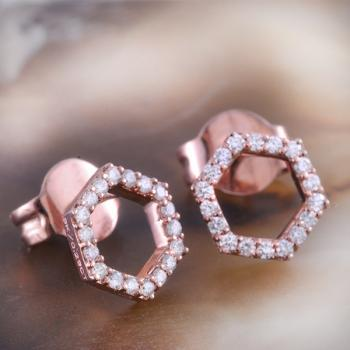 Diamond Hexagon shaped stud earrings in 9k Rose Gold