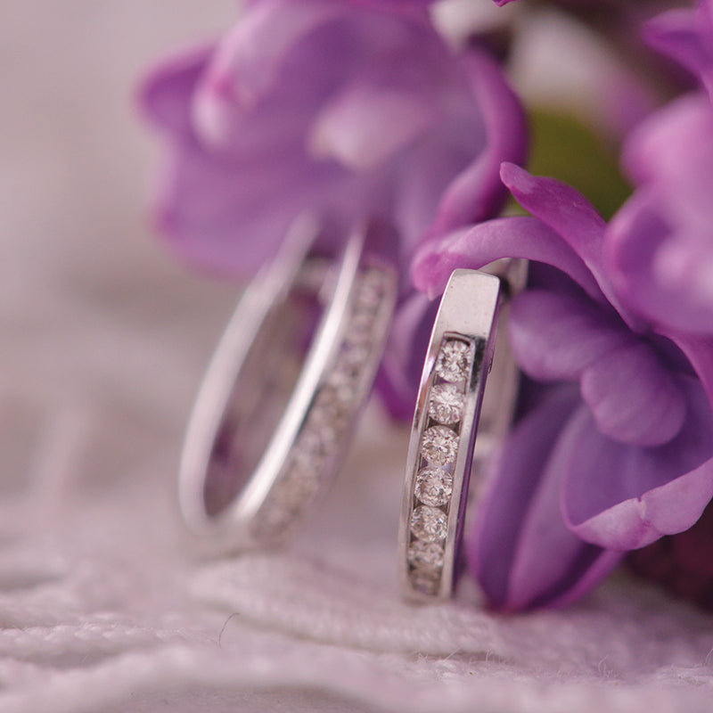 9k White Gold Diamond Huggies