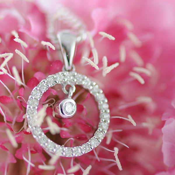 White Gold and Diamond Circle and Suspended Bez Small Plain Bail Pendant
