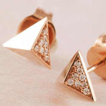 Diamond Pyramid Stud Earrings in 9k Rose Gold