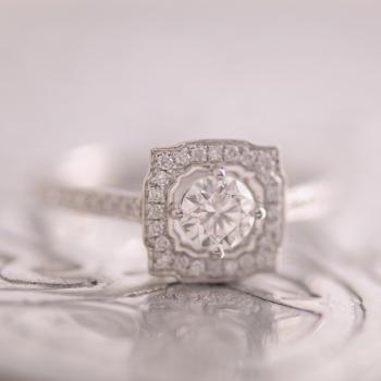 Diamond Ring Square Art Deco