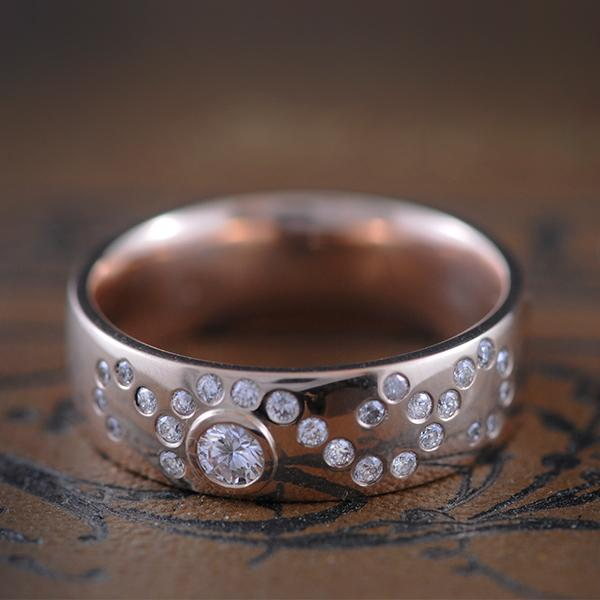 Diamond Ring wide band  - Stary Night ring