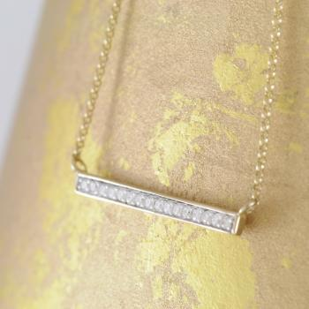Diamond Set Bar Pendant on Chain in 9k Yellow Gold