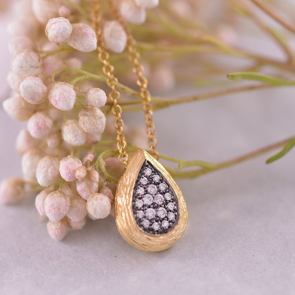 Diamond Teardrop Cluster Two Tone Pendant